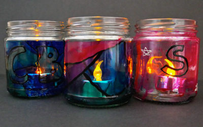 stained glass night light jars