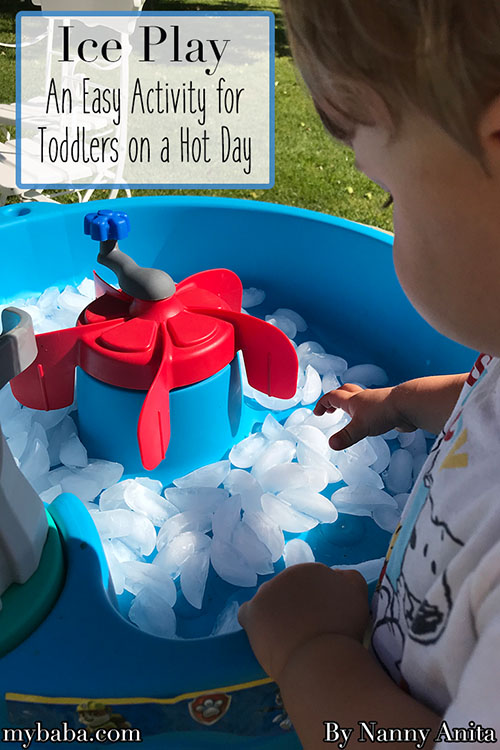 Ice play for toddlers - the perfect activity for a hot day.