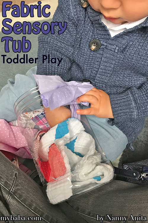 fabric sensory tub - a cheap and easy activity for toddlers and babies.