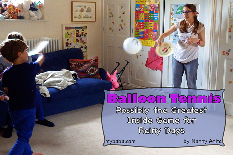Indoor balloon tennis - the perfect game for when the weather is too bad to go out in and your kids need to use up energy.