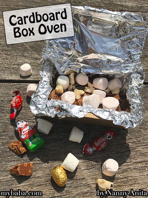 Cardboard box oven - a perfect activity for Scouts and Guides while camping.