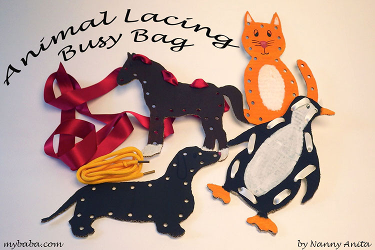 Help develop fine motor skills with this animal lacing busy bag.
