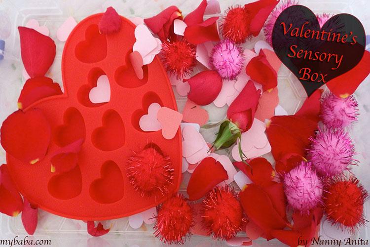 Valentines sensory box for preschoolers.