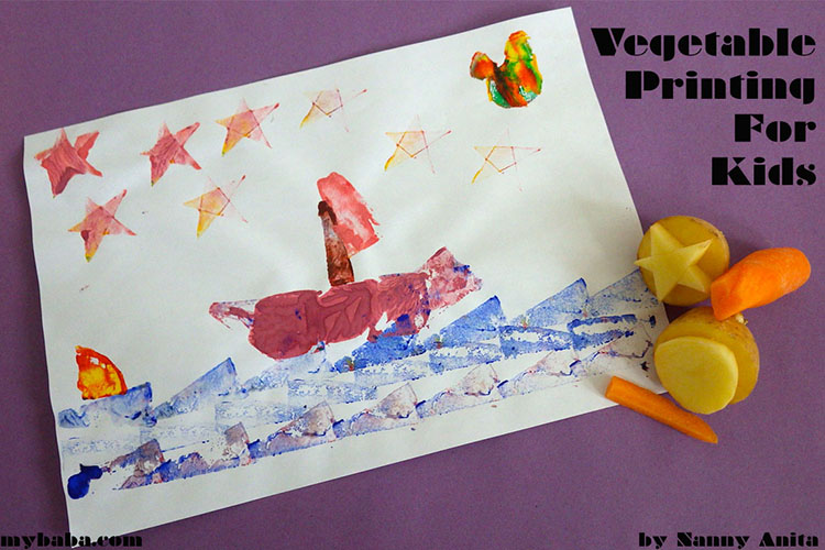 Vegetable printing with left over veg -  a firm craft favourite with kids.