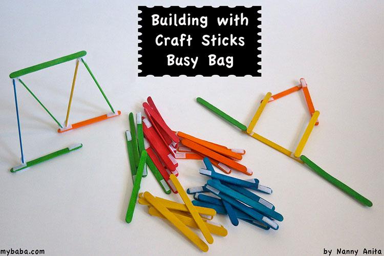 velcro building craft sticks busy bag