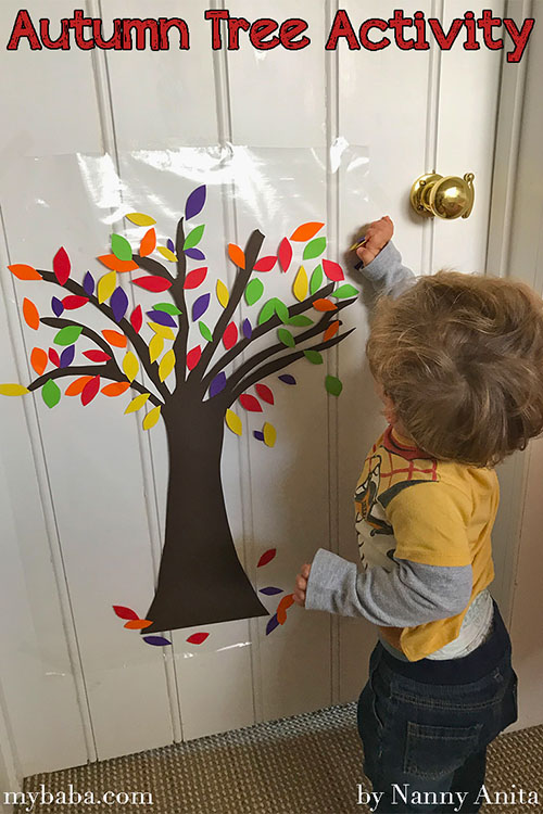 sticky autumn tree activity for toddlers and children.