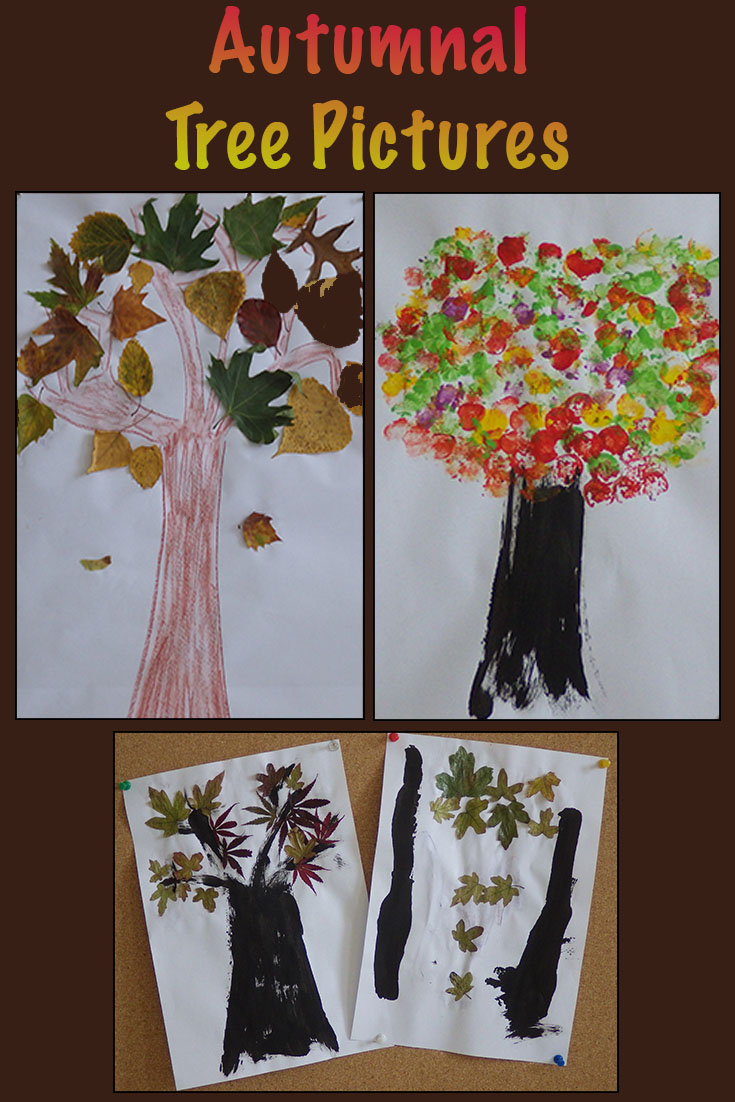 Use leaves to make autumn tree pictures.