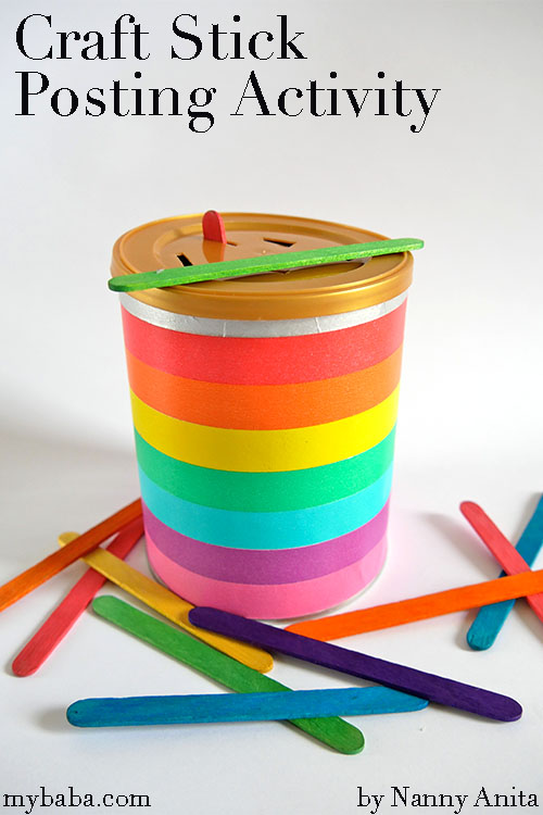 Craft stick posting activity for toddlers. Great for keeping little ones busy while you use the loo!