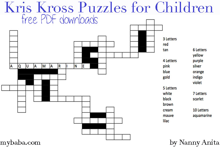 kris kross puzzles for children - free downloads.