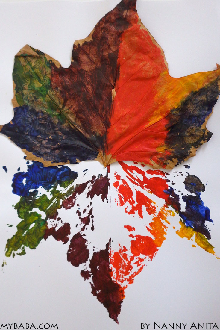 Leaf printing activity for toddlers and preschoolers