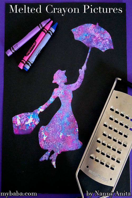 Melted crayon pictures - craft activity for children.