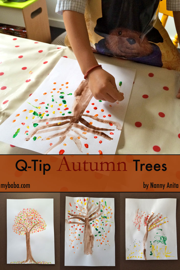 q-tip autumn tree craft
