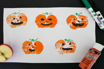 apple stamping pumpkin craft