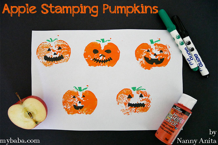 Apple stamping pumpkin craft for toddlers and preschoolers.