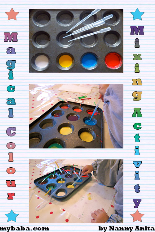 magical colour mixing activity for toddlers and pre schoolers.