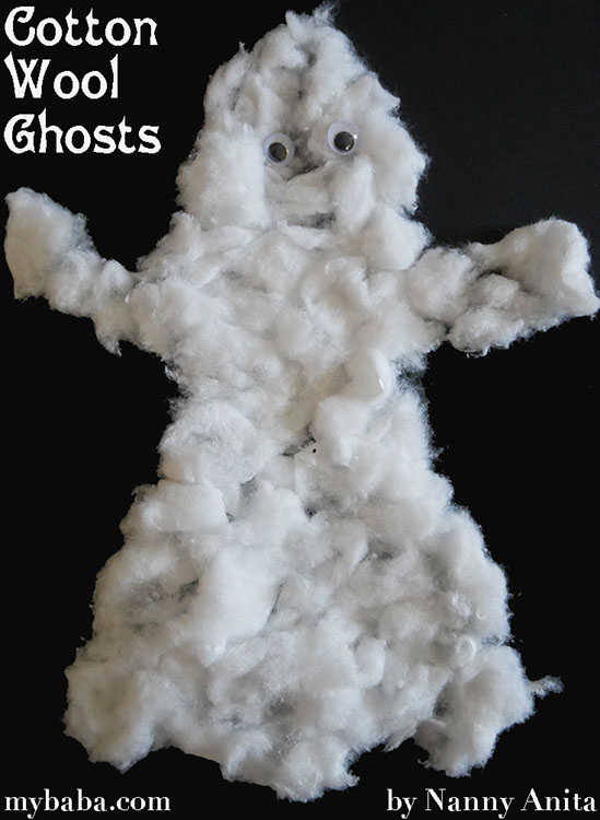 Cotton Wool Ghost Picture Halloween craft for children