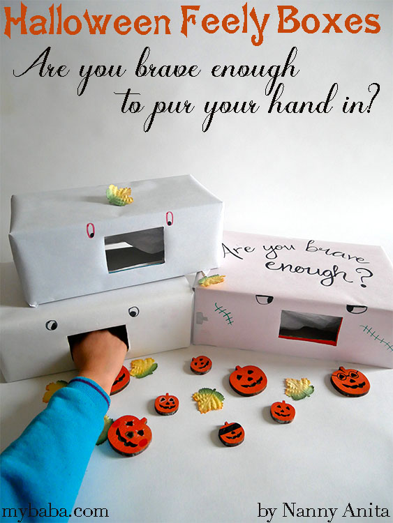 Halloween feely boxes, perfect for any Halloween party for kids.
