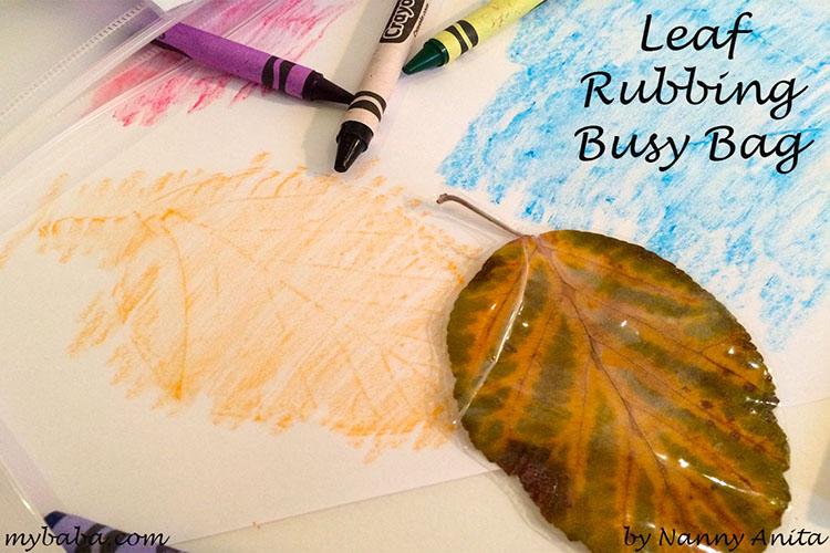 leaf rubbing busy bag for children.
