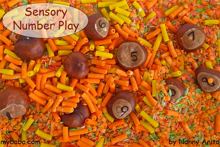 sensory and number tray for pre-schoolers. It can either be a simple sensory tray or turned into a number recognistion activity.