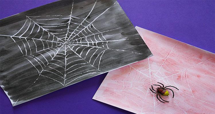 Crayon resistant spider web art