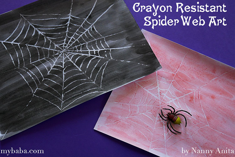 Halloween craft for children - Crayon resistant spider web art