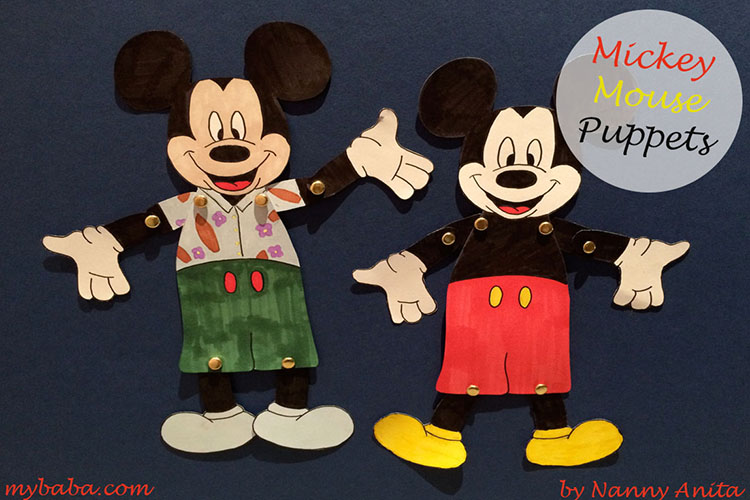 Mickey Mouse Puppets with free downloadable PDF.
