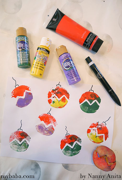 bauble potato printing craft for kids.