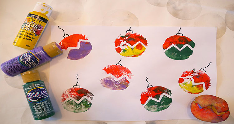 Bauble potato printing