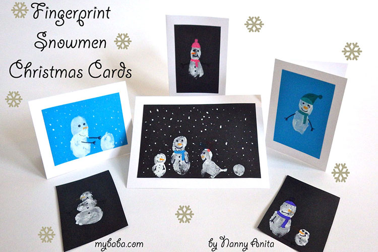 fingerprint snowmen cards - fun for the whole family to make.