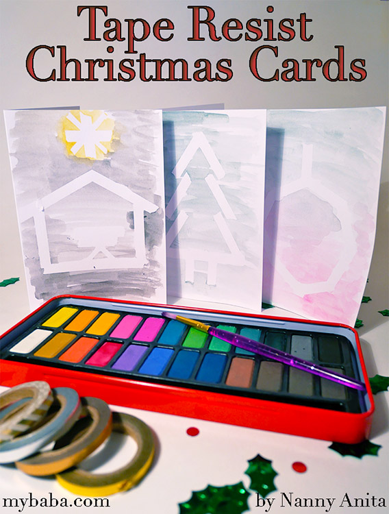 Tape resist christmas cards - a great christmas craft for kids.