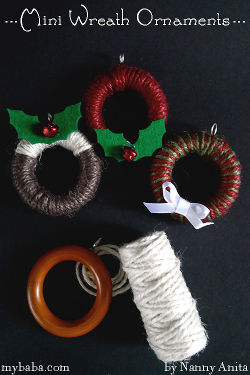 Mini wreath decorations to hang on your Christmas tree.