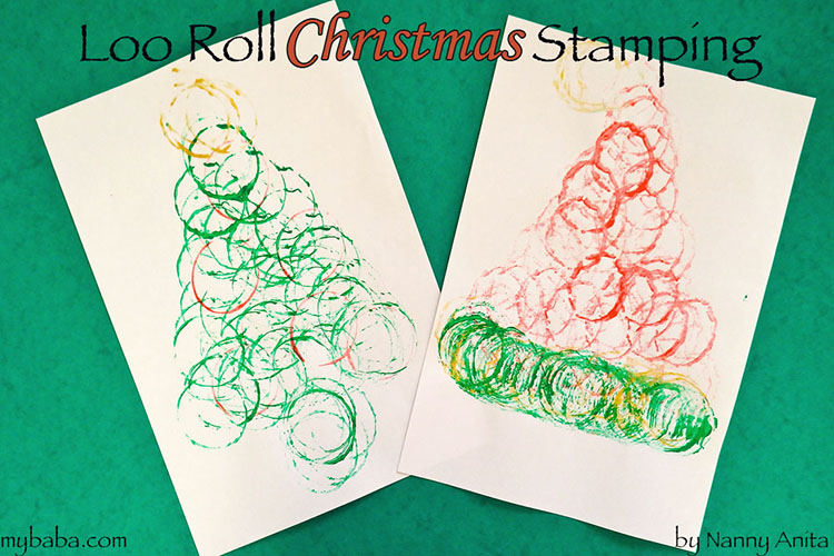 christmas loo roll stamping craft for children.