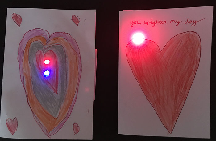simple LED circuit valentine's card