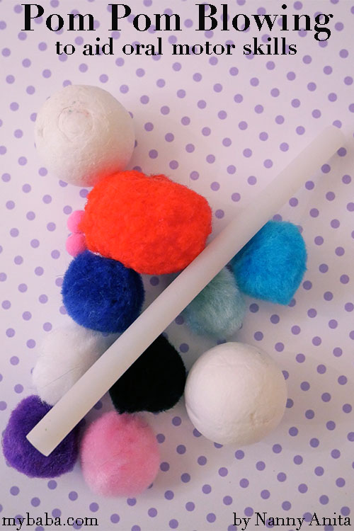 Help little ones improve their oral motor skills with this pom pom blowing activity.