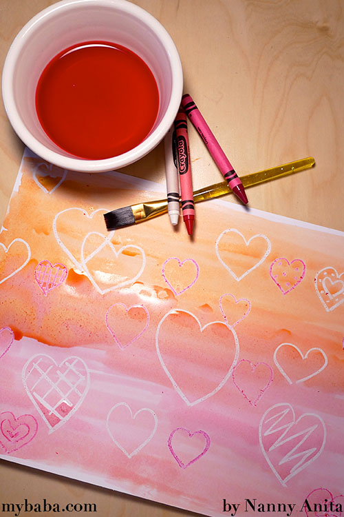 Valentine's sugar painting - it produces a wonderfully glossy effect.  A great craft for toddlers and preschoolers.