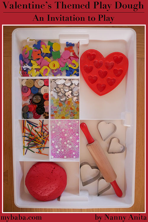 Valentine's themed play dough and an invitation to play.