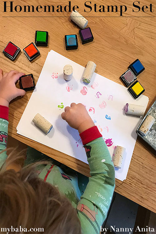homemade stamp set using cork and styrofoam. Perfect art supply for toddlers.