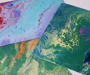 fluid painting with kids