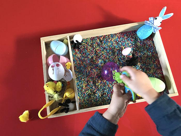 easter themed sensory tray