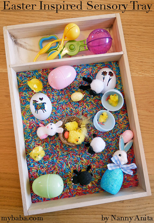 Make an Easter themed sensory tray for kids to explore.