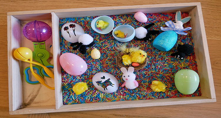 Easter themed sensory tray