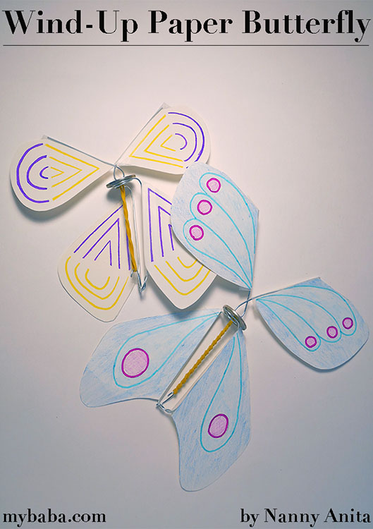Learn how to make your own wind-up butterfly. Kids craft.