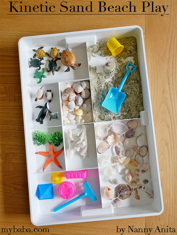 Kinetic sand sensory play is great for pretending you are near the beach,