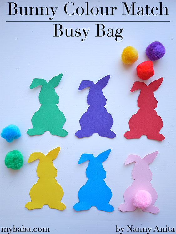 Help toddlers learn and practice their colours with this bunny colour match busy bag.