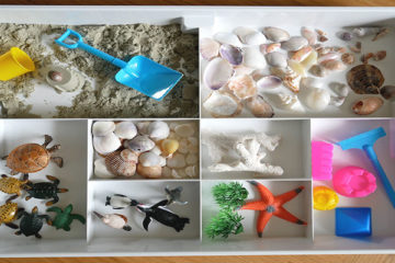 Kinetic sand sensory tray