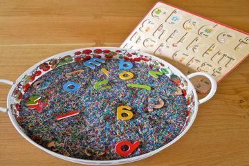 hidden letter sensory tray