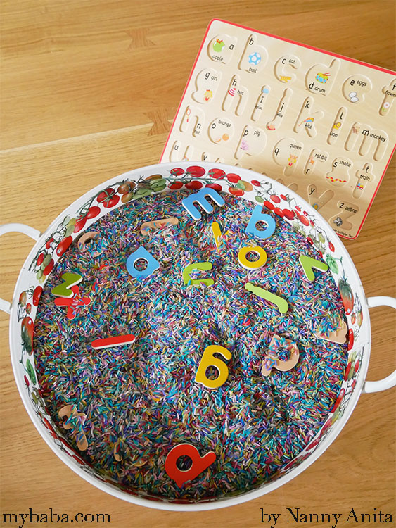 Hidden letter sensory tray for pre-schoolers