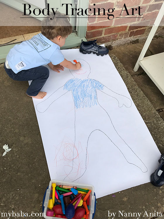 Body tracing art for children