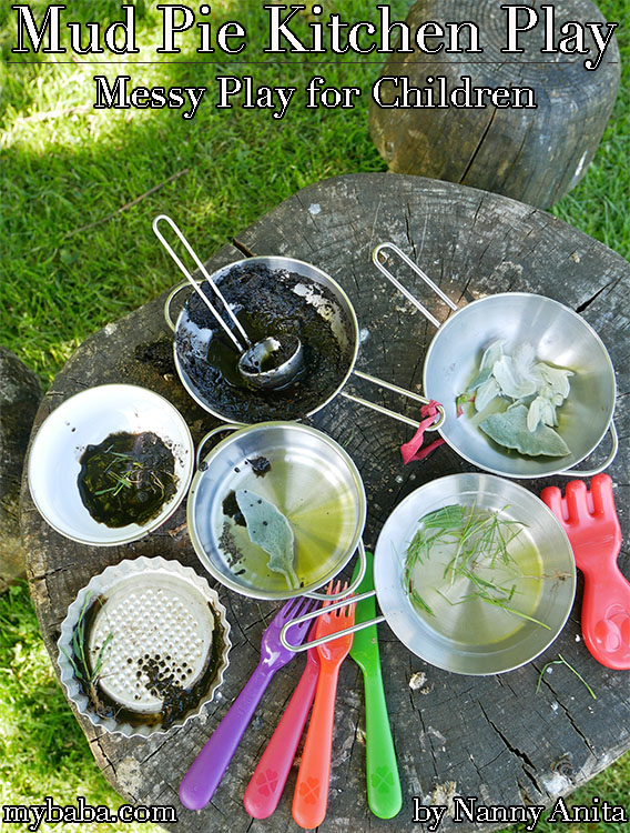 Mud pie kitchen messy outside play for children.