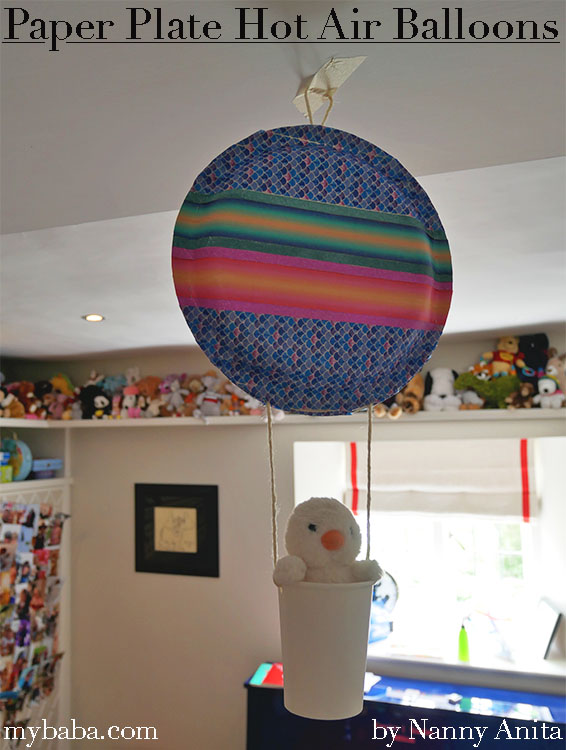 Add some cheery decorations to a child's room with this paper plate hot air balloon craft for kids.